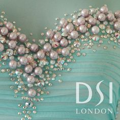 DSI London couture Ballroom dress inspired by the Ocean, Pale turquoise Mesh… Pearl Embroidery, Bead Embroidery Patterns, Couture Embroidery, Embroidery Fashion, Hand Embroidery Designs, Embroidery Dress, Tambour Beading, Ballroom Dance Dresses, Figure Skating Dresses