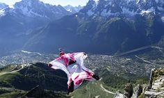 """Geraldine Fasnacht jumps from Brevent mountain to fly over Chamonix ski resort July 2014 Pic by Philippe Desmazes"" French Ski Resorts, Chamonix, Local Police, Base Jumping, French Alps, Swiss Alps, Travel Articles, The Guardian, Belgium"
