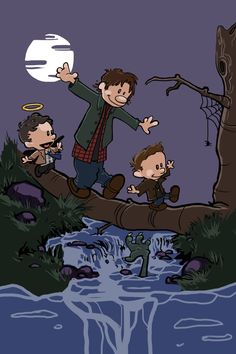 Hey, I found this really awesome Etsy listing at https://www.etsy.com/listing/185435285/supernatural-calvin-and-hobbes-sam-dean