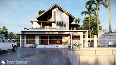 2200 Square Feet Double Floor Contemporary Home Design Kerala House Design, Kerala Houses, Construction Cost, New Home Designs, Residential Architecture, Ground Floor, Square Feet, House Plans, New Homes
