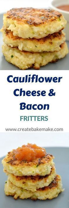 Cauliflower Cheese and Bacon Fritters de verduras Cauliflower Fritters, Cauliflower Cheese, Cauliflower Recipes, Veggie Dishes, Vegetable Recipes, Vegetarian Recipes, Vegetarian Bacon, Side Dishes, Cauliflowers