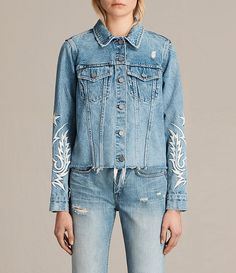 Womens Philly Embroidered Denim Jacket (Indigo Blue) - product_image_alt_text_1