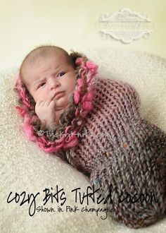 CozyBits Handknit Newborn Cocoon Swaddler Photo Prop by TrickyKnits, $65.00 #knitting
