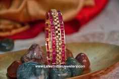 Latest Collection of Indian Gold and Diamond Jewellery from Traditional to Contemporary Designs. Plain Gold Bangles, Ruby Bangles, Ladies Bangles, Bridal Bangles, Silver Bracelets, Bangle Bracelets, Necklaces, Gold Jewelry Simple, Gold Jewellery