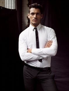 David Gandy, awesome look, grey trousers, white shirt and black tie, men's style, clean and crisp