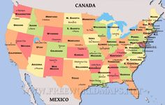 Political Map Of The United States | Political map of the United States, showing states and capitals