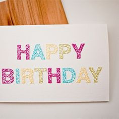 Embroidered Birthday card, tutorial and template.