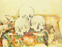 Bild:  Paul Cézanne - Stillleben mit drei Totenschädeln