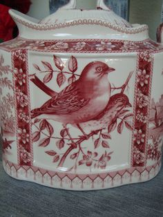 Beautiful Red Transferware Teapot Birds Floral Wrens Sparrows Pattern | eBay