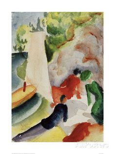 Picnic on the Beach Giclee Print by Auguste Macke at AllPosters.com