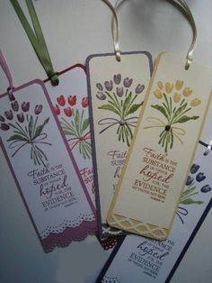 "Floral Scripture Bookmarkers ideas~""Hattie's Bible Crafts""~~Tulip Bookmarks by flowerpetal - Cards and Paper Crafts at Splitcoaststampers Diy Bookmarks, Corner Bookmarks, Card Tags, Gift Tags, Book Markers, Craft Fairs, Scrapbook Pages, Cardmaking, Stampin Up"