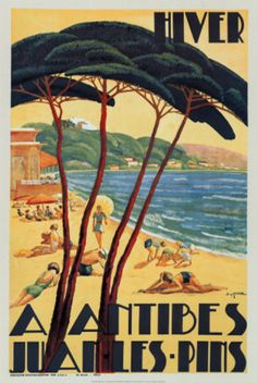 Vintage travel poster - Antibes & Juan Les Pins, French Riviera, Cote d'Azur, South of France #essenzadiriviera