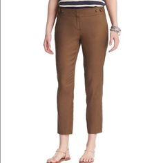 PM Editor PickLoft Ankle Pants PM Editor Pick 11-9-15 NWOT Marisa ankle pants from the Loft.  Sits low on the waist, straight in the hip.  Beautiful fall color.  Looks great with heels this fall.  Waist lying flat 16 inches.  Rise 8 1/4 inches.  Inseam 27 inches.  60% linen, 39% cotton, 1% spandex.  Machine wash or dry clean. LOFT Pants Ankle & Cropped