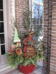 #pottery #planters #containers #pots  Christmas container idea