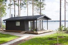 Sauna by the lake, Finland Sauna House, Tyni House, Tiny House Cabin, Tiny House Plans, Cabin Homes, Tiny House Layout, House Layouts, Prefab Cottages, Building A Cabin