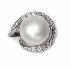 On Sale Thru December 7th, 2014, NON-TARNISH STERLING SILVER CULTURED FRESHWATER PEARL WRAPPED IN CZ's RING #Sale #pearlring #cybermonday