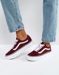 Order Vans Old Skool Platform Sneakers In Burgundy online today at ASOS for fast delivery, multiple payment options and hassle-free returns (Ts&Cs apply). Get the latest trends with ASOS. Burgundy Vans, Maroon Vans, Red Vans, Purple Vans, Platform Vans, Black Platform Sandals, Platform Sneakers, Vans Sneakers, Slip On Sneakers