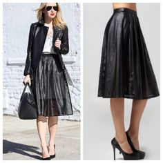 Perforated Full Midi Skirt! These skirts are to die for! Add a lil edge to your outfit. Pair with a simple tee or any top. Faux leather. Fully lined! 100% polyester. Features gold zipper closure in back. Waist measures 14' across laying flat, and is 26' long. profile pics are styling ideas and to show fitTrades in this closet Haute Mondae Skirts A-Line or Full