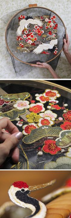 Embroidery artist Krista Decor stitches her designs onto see-through tulle fabric.