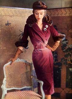 Sophie Malgat in a velvet coatdress by Jacques Fath, 1950, via Flickr.