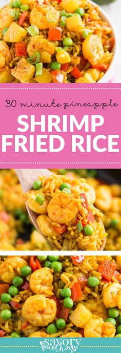 This 30 Minute Pineapple Shrimp Fried Rice is an easy weeknight dinner recipe you can put on the table in just half an hour! If you have cooked rice on hand it's ready even faster.