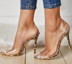 a1be76f3c7 Sexy New PVC Transparent Leopard Grain Pumps Heel Stilettos High Heels Women