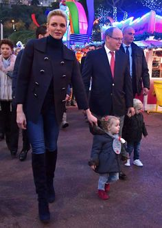 Royal Family Around the World: Princess Charlene and Prince Albert of Monaco: With Prince Jacques and Princess Gabriella at the Christmas Village in Monaco on December 4, 2016