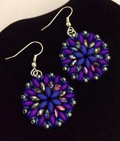 Superduo Earrings.  Beautiful Rain Jewelry, USA