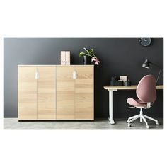 GALANT Cabinet with doors, white stained oak veneer, 31 Limited Warranty. Read about the terms in the Limited Warranty brochure. Ikea Galant, Industrial Office Chairs, Soft Chair, Ikea Office, Ergonomic Office Chair, White Stain, Wood Veneer, Swivel Chair