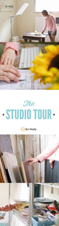 A peek into the studio of a full-time food and DIY blogger. Take a look at the real life studio-- gear, photography boards, tripods, camera, and more!