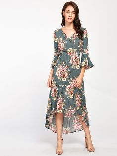 Shop Tie Neck Bell Sleeve Flounce Dip Hem Dress online Australia,SHEIN offers huge selection of Dresses more to fit your fashionable needs. Dress P, Swing Dress, Wrap Dress, Short Sleeve Dresses, Dresses With Sleeves, Edgy Style, Beach Wear, Express Dresses, Flare Dress