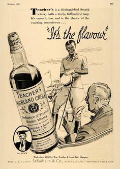 1937 Ad Teacher's Highland Cream Scotch Whisky Golfing Men Glasgow - ORIGINAL   eBay