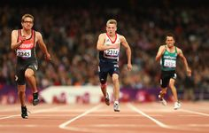 Jordan Howe of Great Britain compete in Men's 100m - T35 heats. Wearing Pink GB Kinesiology tape!