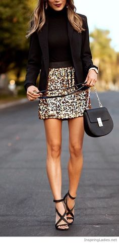 Black top and blazer with gold glitter skirt | Inspiring Ladies