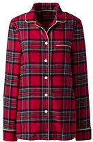 classic Women's Petite Flannel Sleep Top-Rich Pine Plaid