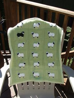 Sheep Baby Blanket pattern by Jean Guirguis , Baby Afghan Crochet, Knitted Afghans, Knitted Baby Blankets, Baby Afghans, Afghan Blanket, Blanket Stitch, Baby Crafts, Baby Knitting Patterns, Knitting Projects