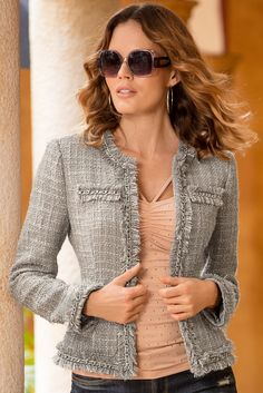 Parisian Jacket from Boston Proper on Catalog Spree Blazers For Women, Jackets For Women, Ladies Jackets, Chanel Style Jacket, Unique Clothes For Women, Boston Proper, Tweed Jacket, Couture Dresses, Business Fashion
