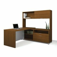 """Bestar Pro-Linea L-Shaped with Hutch Kit Color - Cognac Cherry by bestar. $1168.99. Cognac Cherry. Pro-Linea has all the elements to create a modern and refined work environment. The clean lines of this collection bring a fresh look without compromising functionality and durability. The Return Table is made of a durable 1.5"""" commercial grade work surfa. Save 29% Off!"""