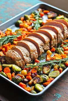 One Pan Pork Loin Filet With Fall Vegetables With Pork Loin, Sweet Potatoes, Brussels Sprouts, Heirloom Carrots, Extra-virgin Olive Oil, Maple Syrup, Thyme, Salt, Pepper