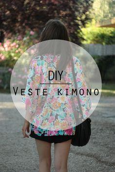 Veste kimono Plus Coin Couture, Couture Sewing, Kimono Fashion, Diy Fashion, Sewing Clothes, Diy Clothes, Kimono Diy, Simple Wardrobe, Diy Vetement