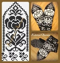 Floral pattern for mittens Knitted Mittens Pattern, Knit Mittens, Knitted Gloves, Knitting Socks, Knitting Charts, Knitting Patterns, Crochet Patterns, Knitting Designs, Knitting Projects