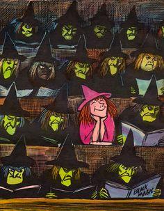 I know Halloween is over but.this vintage illustration = love. Vintage Witch, Vintage Halloween, Fall Halloween, Halloween Illustration, Illustrations, Illustration Art, Don Freeman, Desenhos Love, Fantasias Halloween