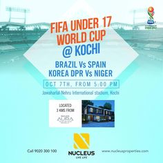 Experience the FIFA World Cup for the first time - Kochi. Today from 5:00 PM, Brazil vs Spain and Korea DPR vs Niger.   #BrazilvsSpain #FIFAU17WC #FootballTakesOver #Brazil #Spain #U17WorldCup #FIFA #Stadium #WeBackTheBlue  #Kerala #Kochi #India #LuxuryHomes #Architecture #Home  #Elegance #Elegant  #Beautiful #Exquisite #Interior #Design  #Luxury #Life #Trivandrum #Gorgeous #LifeStyle #RealEstate #View #Atmosphere #Apartment