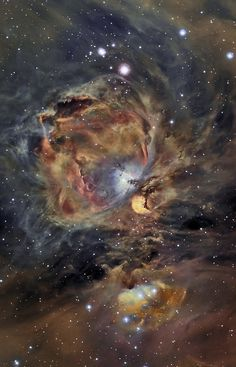 Orion Nebula in Oxygen, Hydrogen, and Sulfur Image Credit Copyright: César Blanco González The Orion Nebula spans about 40 light years is about 1500 light years away in the same spiral arm of our Galaxy as the Sun. The Great Nebula in Orion can be found with the unaided eye just below and to the left of the easily identifiable belt of three stars in the popular constellation Orion.The whole Orion Nebula cloud complex, will slowly disperse over the next 100,000 years.