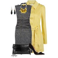 """""""Yellow Trench and a Tweed Dress for Fall"""" by kginger on Polyvore"""