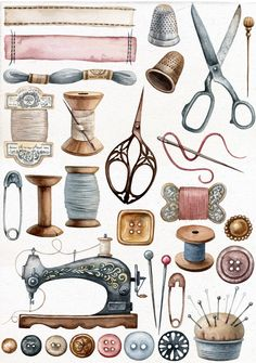 DIY decorating Vintage sewing kit, Vintage sewing dress, Vinta… – Awesome Knitting Ideas and Newest Knitting Models Sewing Art, Sewing Crafts, Sewing Projects, Sewing Ideas, Art Projects, Vintage Sewing Notions, Vintage Sewing Machines, Vintage Sewing Rooms, Vintage Clipart