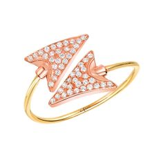 Double Arrow Ring - Red C Jewels #rings #diamonds #jewelry #mixedmetals #rosegold #gold #diamondring #arrowjewelry #pibetaphi