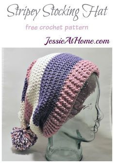 Crochet Beanie Ideas Stripey Stocking Hat - free crochet pattern by Jessie At Home - Stripey Stocking Hat a free crochet pattern at Easy Skill Level Designed by Jessie Rayot Crochet Adult Hat, Crochet Beanie Pattern, Free Crochet, Knit Crochet, Double Crochet, Crochet Toddler Hat, Crochet Baby, Crochet Scarves, Crochet Clothes