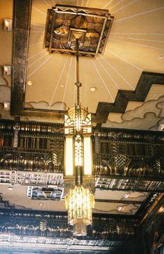 Art Deco ceiling pendant and detail                              …