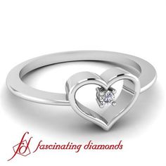 Prong Set Elegant Round Cut Diamond Heart Shaped Ring